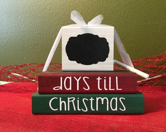 Christmas Theme Wood Block Stacks/Stacker - Countdown to Christmas Chalkboard -{Merry Christmas - Christmas wood blocks}
