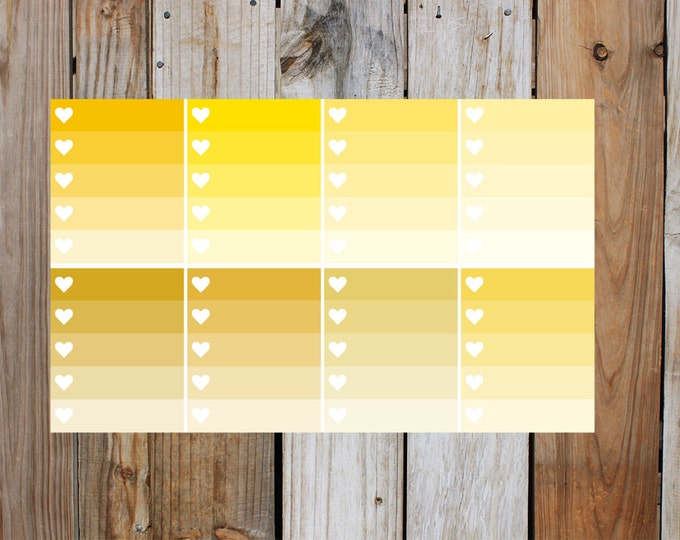 Yellow Heart Check Box Planner Stickers in Glossy - Shades Of Yelow | for use with ERIN CONDREN Life Planner