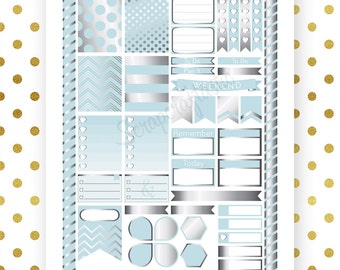 All Sky Blue Silver Pro Printable Planner Stickers for Erin Condren Life Planner