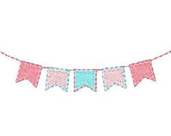 Instant Download Bunting, Bunting for Parties Machine Embroidery Design No: JG00070-5