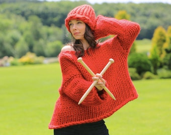 DIY knitting kit. Oversized sweater jumper cardigan Super Chunky DIY Giant knit kit, Learn to knit, extreme pattern, Knitting kit K006