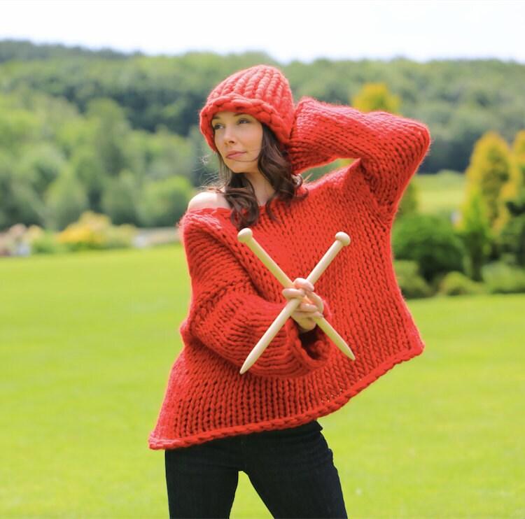 Knitting Jumper Kits : Diy knitting kit oversized sweater jumper cardigan super