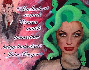 "Men Look at Women 12""X 12"" acrylic painting/ 50s magazine collage"