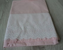French Vintage pink cotton babies  sheet (00226)