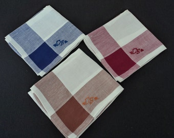 French vintage set of three men's initial cotton handkerchiefs (03022)