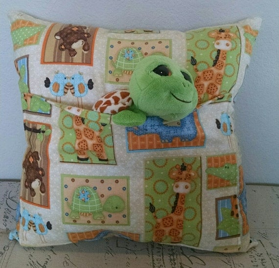 Stuffed Animal Pillows With Pockets : Animal Companion Pocket Pillow with Turtle by WeThreeCrafts