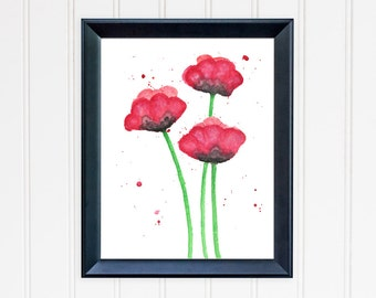Poppy Art Print. Watercolor Poppies. Floral Home Decor. Red Poppy Print. Flower Wall Art. Mother's Day Gift. Gift for Mom. Gift for Her.