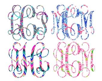 Lilly Pulitzer Inspired Monogram Decals |Lilly monogram sticker | Lily Lilly decal | Yeti monogram | Yeti sticker | DIY