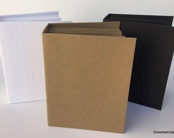 "Blank, handmade ready to decorate mini albums 7 1/2"" x 5 3/4"" kraft, black, or white corenescreations"