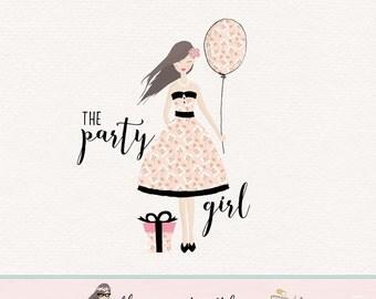 party logo design girl character logo event planner logo photography logo premade logo design party invitation logo bespoke logo design
