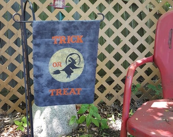 Trick or Treat Witch and Moon Garden Flag