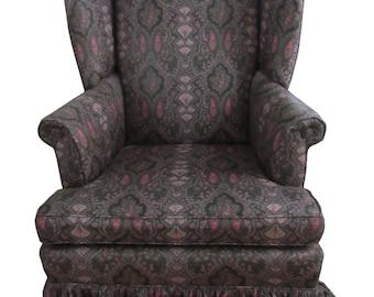 Pai rFireside Wing Back Ashley  Upholstered Paisley Skirted  Chairs