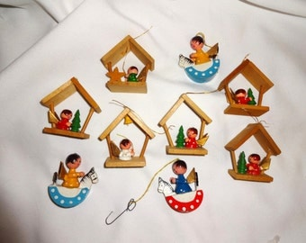 Christmas wooden ornaments, 1970's