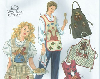 Simplicity 7889 Appliqued Aprons Pattern One Size Four Styles