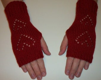Red hearts knit fingerless gloves, hand warmers