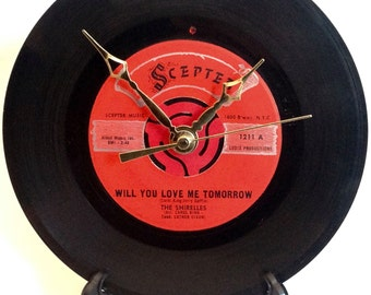 """Recycled THE SHIRELLES 7"""" Record • Will You Love Me Tomorrow • Record Clock"""