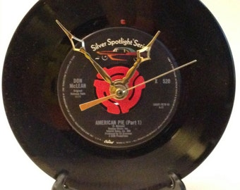 """Recycled DON McLEAN 7"""" Record • American Pie • Record Clock"""