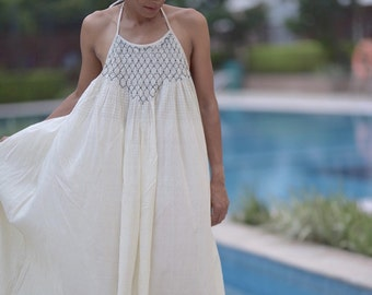 Berlin, Hand made Maxi Dress with Hand Smocking at Front