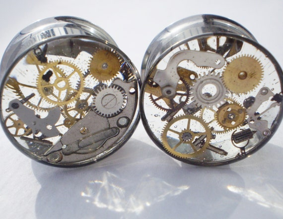 Plugs Steampunk Cogs Gears Gauges Watch Parts Bronze Metal