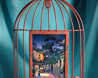 Japanese Print in Red Bird Cage Frame- City After Dark With Street Lantern