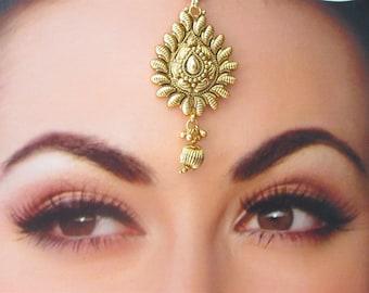 Gold South Indian Tikka/Maang Tikka Tika Headpiece Jewelry/Indian Jewelry/Temple Jewelry Tikka/Forehead tikka/ Decorative Headpieces