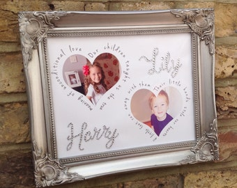 Personalised  heart or circle crystal  photo with quote/lyrics for loved one's or special memories, sparkle, anniversary, children's photo