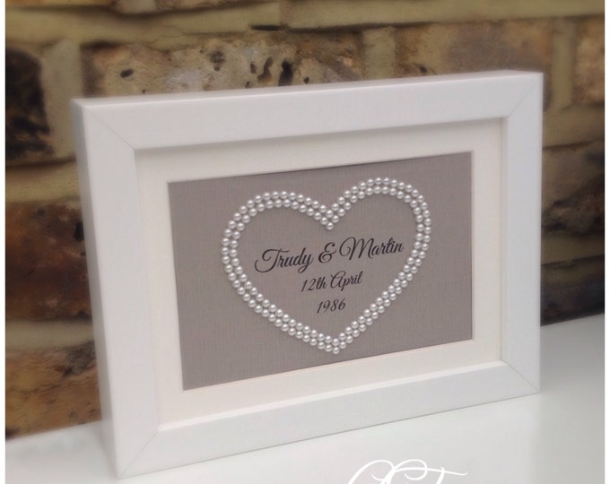 Custom Pearl Heart Couples Personalised Print Framed 5x7...Great Gift For Weddings or Anniversary. Larger size available in listings