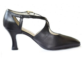 Black Italian leather cross strap shoes