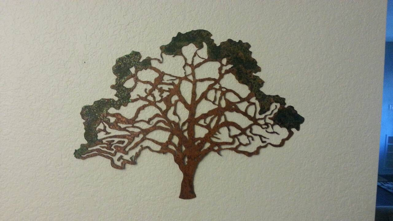 Rustic Tree Wall Decor : Oak tree metal rustic home decor wall