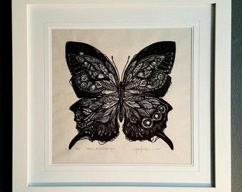 ORIGINAL BUTTERFLY LINOCUT - linoleum blockprint - handprinted