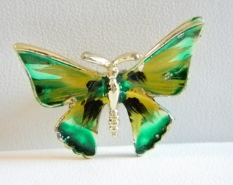 SALE !!!!   Small Green Yellow Black Butterfly Pin Brooch
