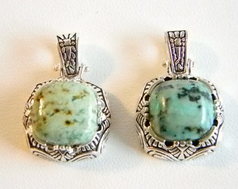 Silver Tone Faux Turquoise Pendant Necklace - Set of 2