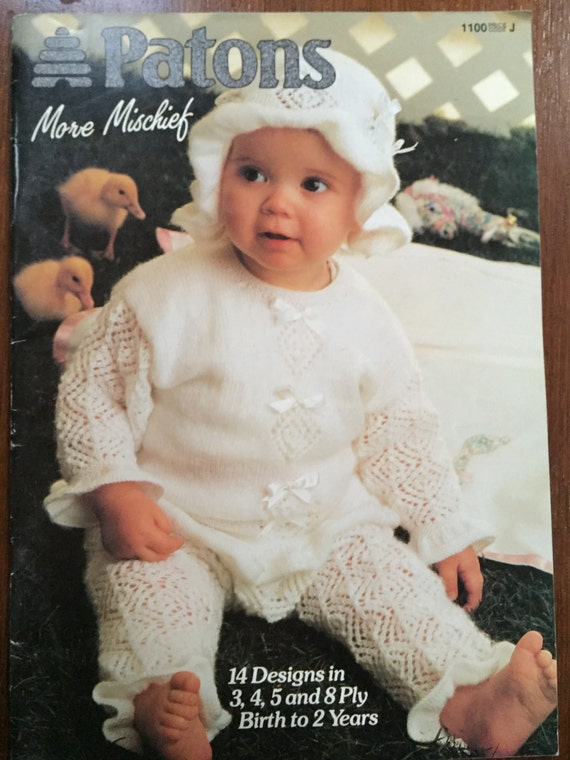 Baby Knitting Pattern No1100 More Mischief Patons Birth To 2