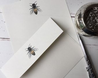 Writing Paper Boxed set with Honey Bee Illustration. Luxury writing paper with drawing of Honey Bee