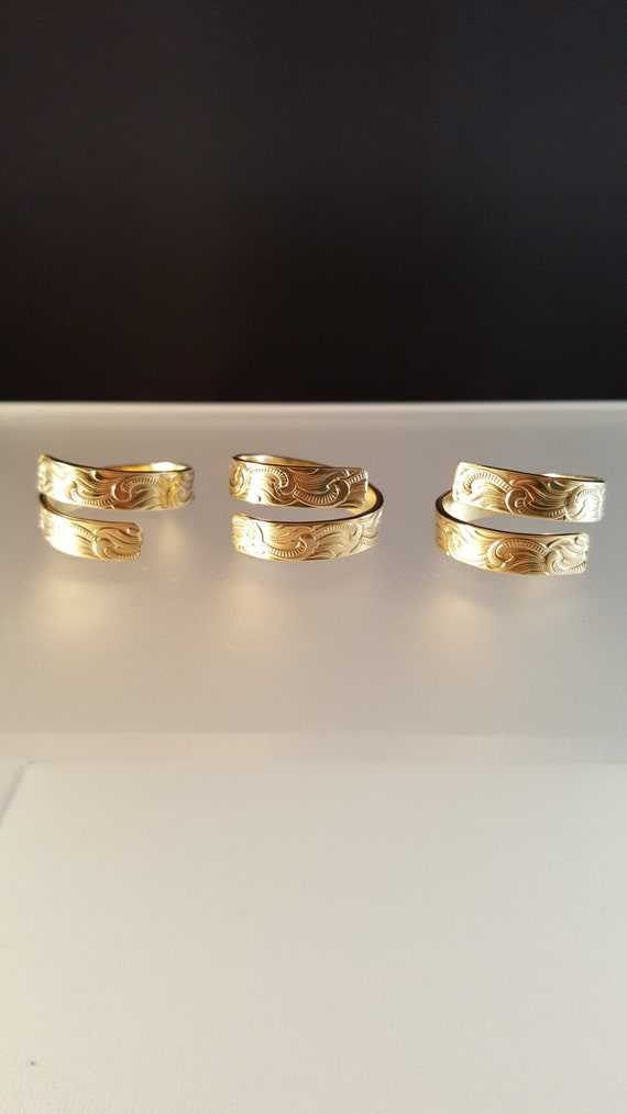items similar to brass patterned wrap ring brass wave ring