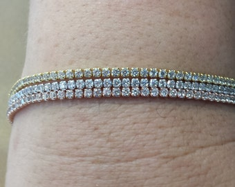 "3ct tennis rose white yellow gold platted cz tennis .925 sterling silver bracelet 7"" chain & link bracelet engagement wedding friendship"
