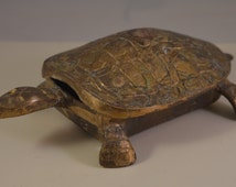Vintage solid brass miniature of a turtle,animal figurine,paperweight,ashtray