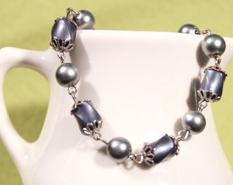 Gray Faux Pearl and Moonglow Bead Bracelet