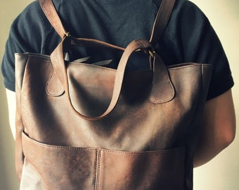 Convertible backpack handbag. Shoulder tote handmade from genuine leather. Handmade soft, perfect for a laptop or travel bag. Leather tote