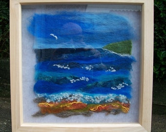 Needle felted, seascape, picture, wool