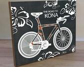 Triathlon art panel print. Ironman-Kona art print. Bike print. Triathlete art print. Bike wall decor. Gift for cyclist. Gift for triathlete
