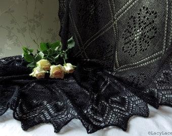 100% Cashmere Black, Handknitted Traditional Estonian Lace, Haapsalu Shawl FREE SHIPPING