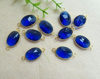10pcs Royal blue quartz Druzy Gold Plated Faceted Oval Shape Glass Crystal Connector Beads For DIY Bracelet necklace Jewelry BD46