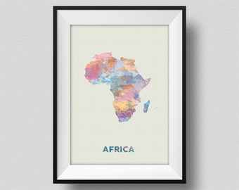 Africa Watercolor Map Art Print, Africa Ink Splash Poster Art Canvas, Africa Watercolor Map, Africa Map, Africa Watercolor Print