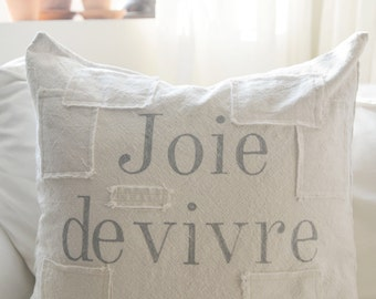 joie de vivre French grain sack style pillow cover, available in 16x16, 18x18, 20x20, 16x26 and 16x24. patches are optional.