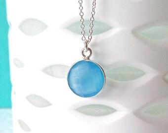 Blue Chalecdony Necklace - Silver Necklace - Gemstone Necklace - Pendant Necklace