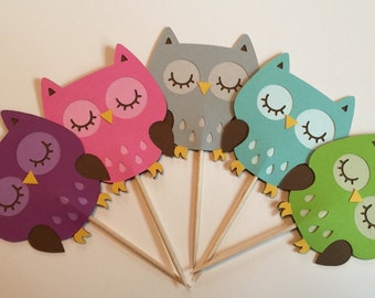 Cute owl party picks, owl toothpicks, owl cupcake picks, owl party decorations