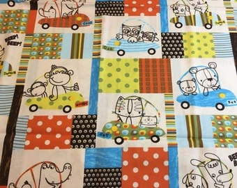 Animals in cars cotton fabric, baby material, nursery fabric, nursery material, fabric by the yard, quilting fabric, nursery material