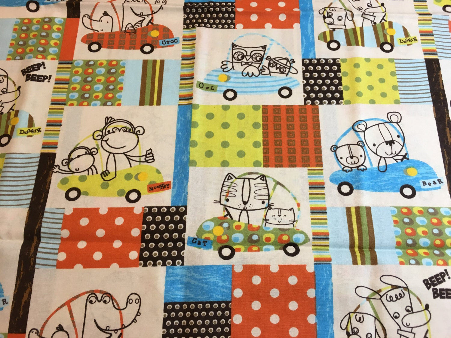 Animals in cars cotton fabric baby material nursery fabric for Baby nursery fabric