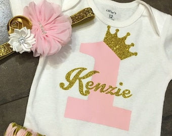 First birthday princess crown number one bodysuit  with personilization, first birthday bodysuit